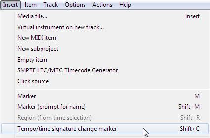 Reaper insert tempo/time signature change marker menu