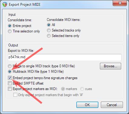 Export MIDI dialog box