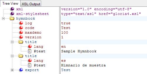XML Notepad Hymnbook Export