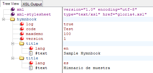 XML Notepad Hymnbook with Titles