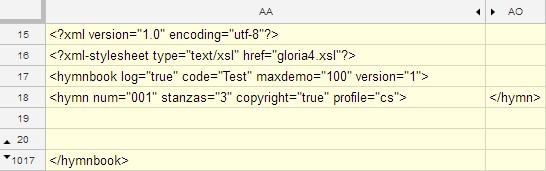 Google Sheets XML