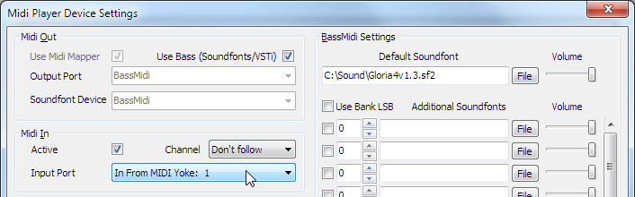 MIDI Player Settings Dialog Box